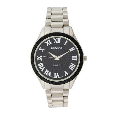 Geneva Womens Glitter Black Dial Silver-Tone Bracelet Watch