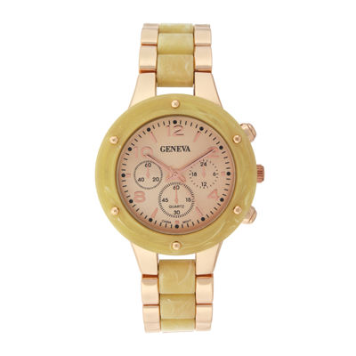 Geneva Womens Horn-Look and Rose-Tone Bracelet Watch