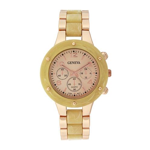 Geneva Womens Horn-Look and Rose-Tone Bracelet Watch