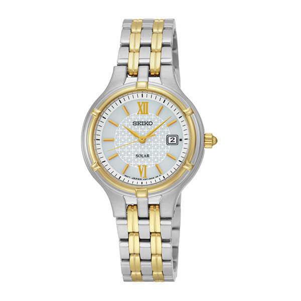 Seiko® Womens Two-Tone Stainless Steel Solar Bracelet Watch SUT218