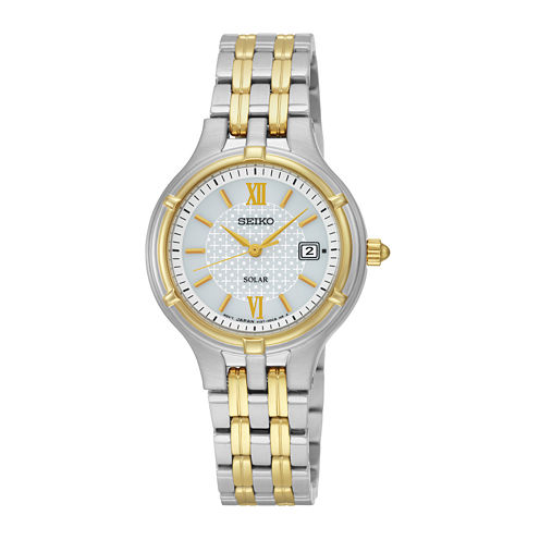 Seiko® Womens Two-Tone Stainless Steel Solar Bracelet Watch SUT218