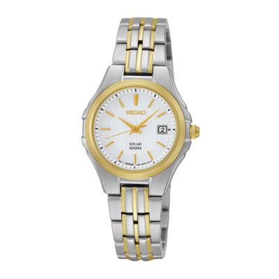 Seiko® Womens Two-Tone Stainless Steel Solar Bracelet Watch SUT226