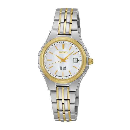 Seiko® Womens Two-Tone Stainless Steel Solar Bracelet Watch SUT226