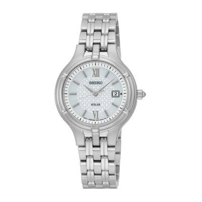 Seiko® Womens Stainless Steel Solar Bracelet Watch SUT217