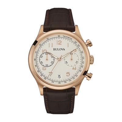 Bulova® Classic Mens Brown Leather Strap Watch 97B148
