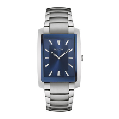 Bulova® Classic Mens Rectangular Stainless Steel Watch 96A169