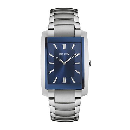 Bulova® Classic Mens Rectangular Stainless Steel Watch 96A169