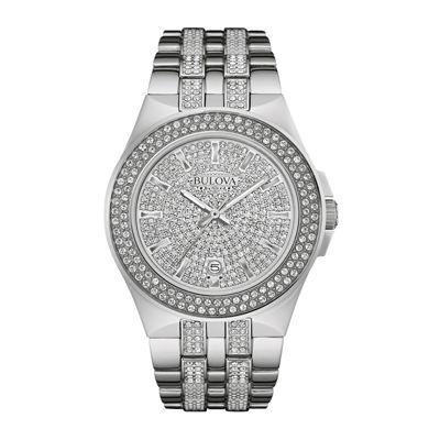 Bulova Mens Silver Tone Bracelet Watch-96b235