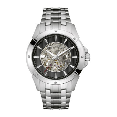 Bulova® Automatic Mens Stainless Steel Skeleton Watch 96A170