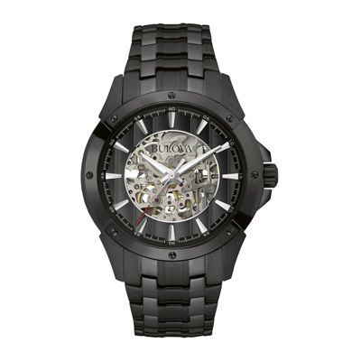 Bulova® Automatic Mens Black Stainless Steel Skeleton Watch 98A147