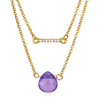 Mixit™ Purple Stone 2-Row Gold-Tone Necklace