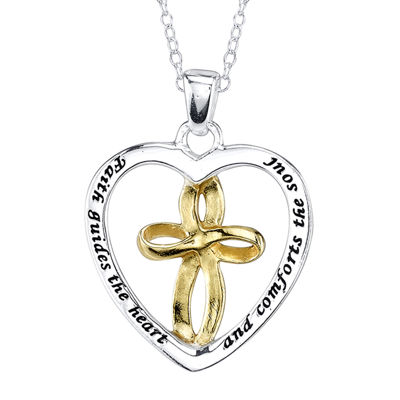 Footnotes® Two-Tone Sterling Silver Heart and Cross Pendant Necklace