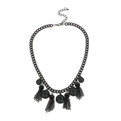 Mixit™ Black Caviar Bead and Chain Tassel Necklace