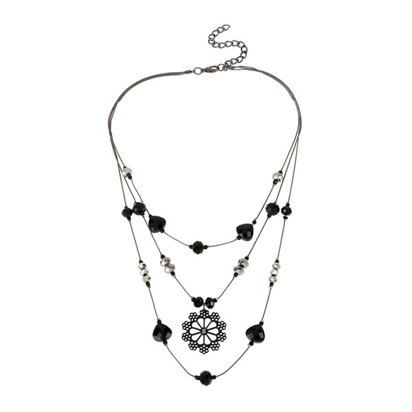 Mixit™ Black Stone Silver-Tone Flower Illusion Necklace