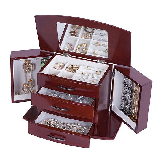Mele & Co. Dark Burlwood Walnut-Finish Jewelry Box