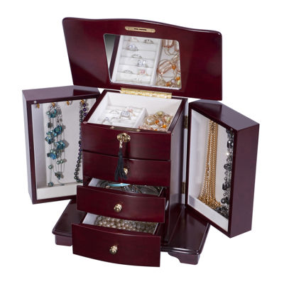 Mele & Co. Locking Cherry-Finish Jewelry Box