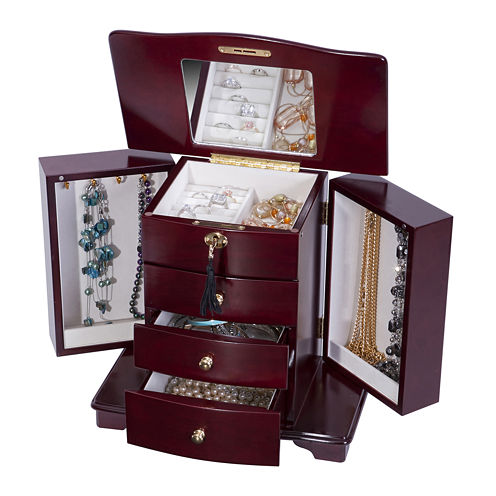 Mele & Co. Locking Cherry-Finish Jewelry Box