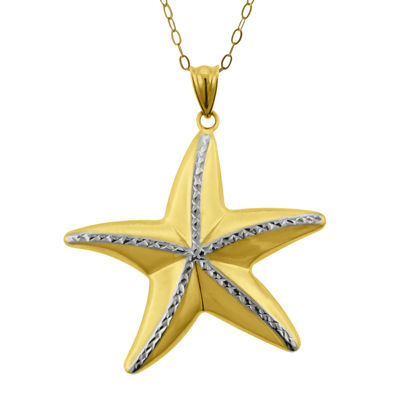 10K Two-Tone Gold Diamond-Cut Starfish Pendant Necklace