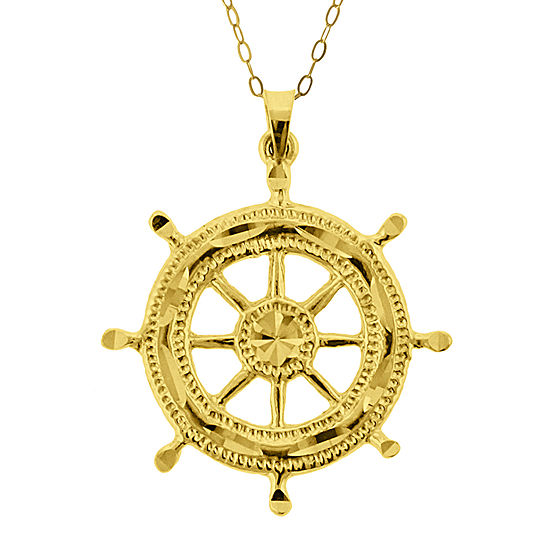 10K Yellow Gold Ship Wheel Pendant Necklace