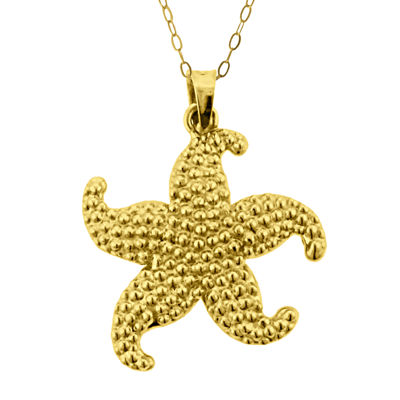 10K Yellow Gold Starfish Pendant Necklace
