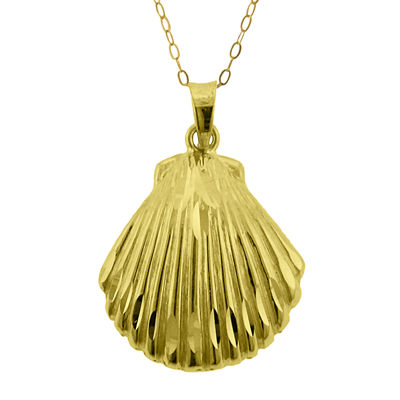 10K Yellow Gold Seashell Pendant Necklace