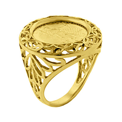 14K Yellow Gold 1/10 oz. Diamond-Cut Liberty Dollar Coin Ring