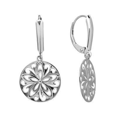 Infinite Gold™ 14K White Gold Cutout Disc Earrings