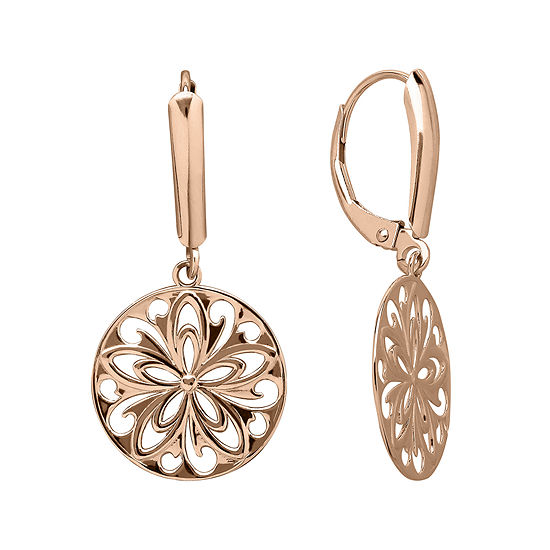 Infinite Gold 14k Rose Cutout Disc Earrings