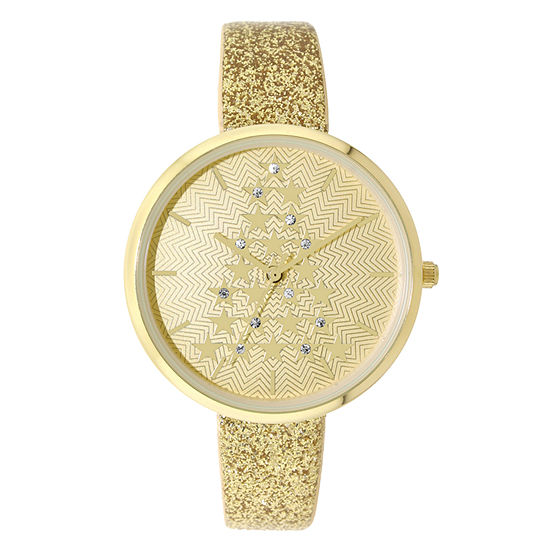 Holiday Whimsy Womens Gold Tone Strap Watch-18114