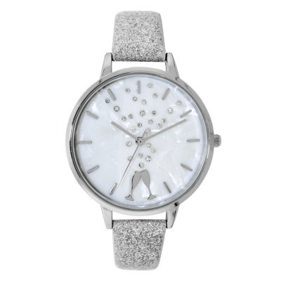 Holiday Whimsy Womens Silver Tone Strap Watch-18115
