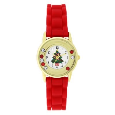 Holiday Whimsy Womens Red Strap Watch-18118