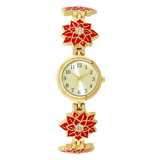 Holiday Whimsy Womens Gold Tone Bracelet Watch-18121