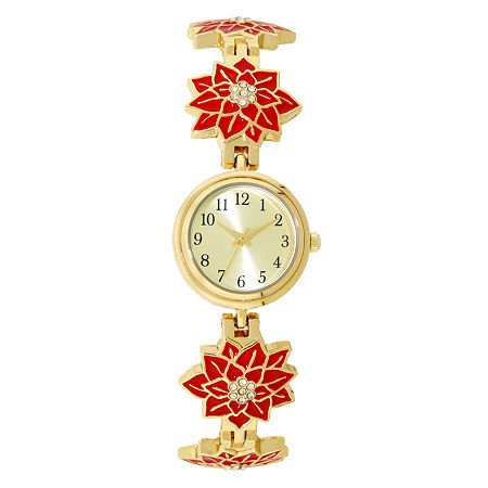 Holiday Whimsy Womens Gold Tone Bracelet Watch 18121, One Size
