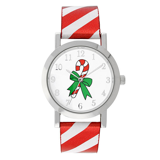 Holiday Whimsy Womens Red Leather Strap Watch-18124