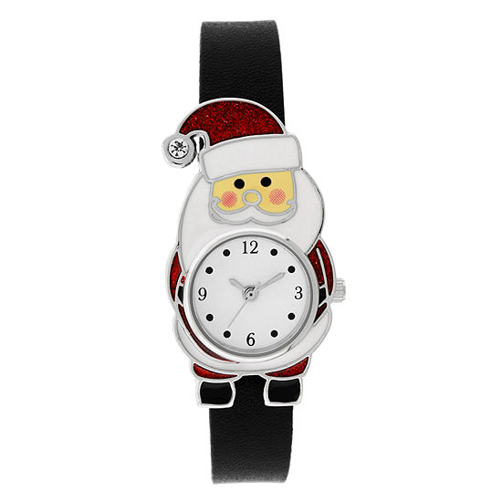 Holiday Whimsy Womens Black Leather Strap Watch-18125
