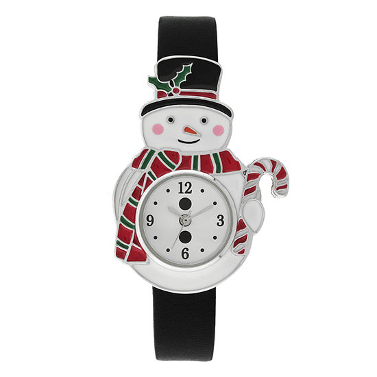 Holiday Whimsy Womens Black Leather Strap Watch-18126