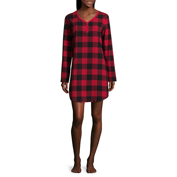 North Pole Trading Co. Family Pajamas Knit Long Sleeve Plaid Nightshirt-Women's