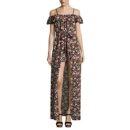 Secret Charm Short Floral Maxi Dress-Juniors