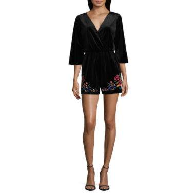 As U Wish 3/4 Sleeve Embroidered Romper-Juniors