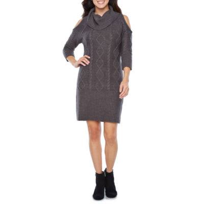 Studio 1 3/4 Sleeve Cold Shoulder Sweater Dress