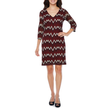Studio 1 3/4 Sleeve Chevron Shift Dress
