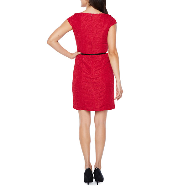 Alyx Cap Sleeve Sparkle Belted Sheath Dress