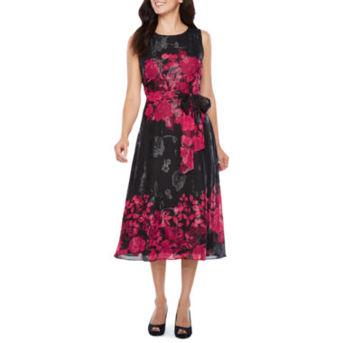 Perceptions Sleeveless Lace Floral Fit & Flare Dress