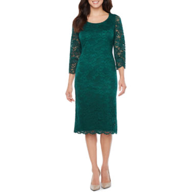 Ronni Nicole Elbow Sleeve Lace Floral Sheath Dress