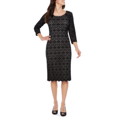 Ronni Nicole 3/4 Sleeve Lace Sheath Dress