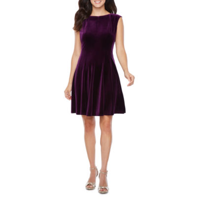 Danny & Nicole Sleeveless Velvet Fit & Flare Dress
