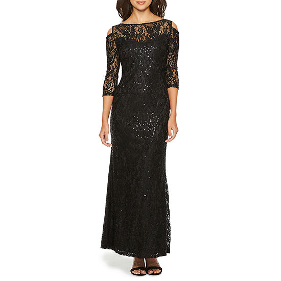 Blu Sage 3/4 Sleeve Cold Shoulder Sequin Evening Gown