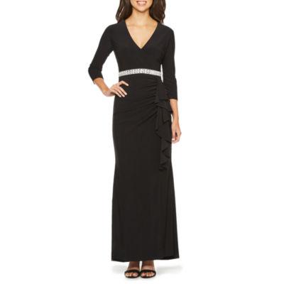 Blu Sage 3/4 Sleeve Embellished Evening Gown