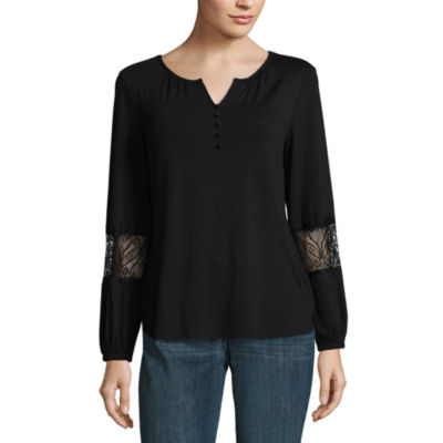 Liz Claiborne Long Sleeve Floral Peasant Top - Tall