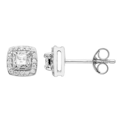 1/4 CT. T.W. Princess White Diamond 10K Gold Stud Earrings